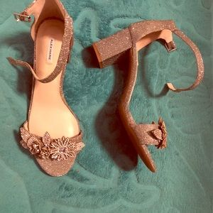 Gold Designer Block Heel Shoes